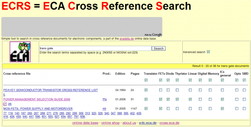 ECRS cross reference search tool