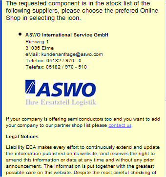 Sample of the ECA E-Shop Partner page