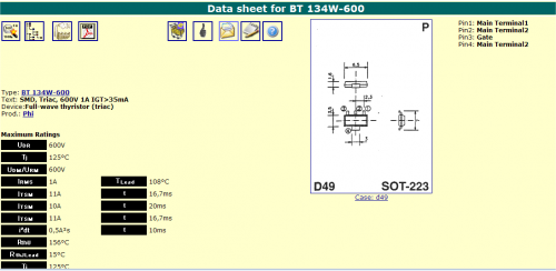 data sheet of BT 134W-600